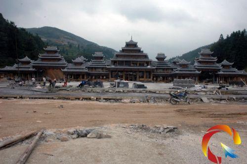全国最大的侗寨寨门在肇兴景区兴建 高21.3米(图)