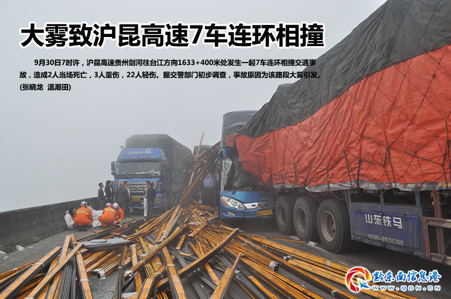 大雾致沪昆高速7车连环相撞