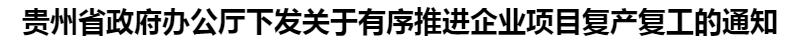 貴州(zhou)省政府辦公廳下(xia)發關于有序推進企業項(xiang)目復產復工的通知