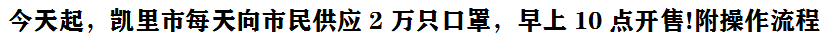 今天(tian)起,凱里市每天(tian)向市民供應2萬(wan)只口罩,早上10點(dian)開售(shou)!附操作流程