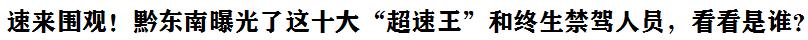 """速來圍觀!黔東南(nan)曝(pu)光(guang)了這(zhe)十大""""超(chao)速王""""和(he)終生禁駕人員,看看是誰?"""