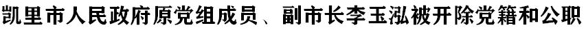 凱里市人(ren)民政府原黨組成員、副市長李玉泓被(bei)開除(chu)黨籍和(he)公職